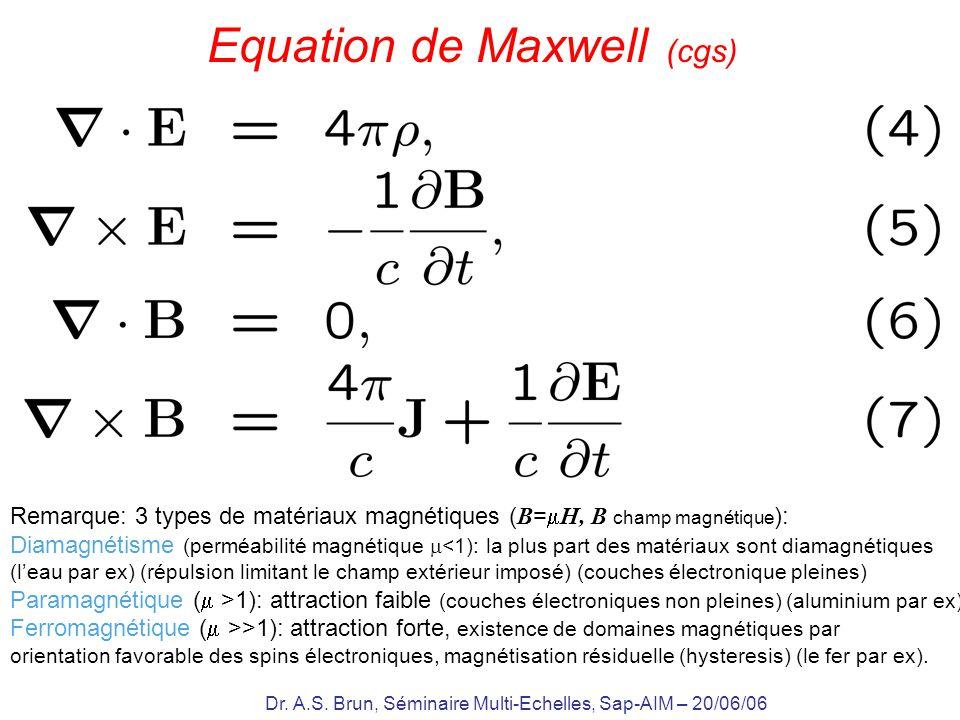 Dr. A.S. Brun, Séminaire Multi-Echelles, Sap-AIM – 20/06/06 Equation de Maxwell (cgs) Remarque: 3 types de matériaux magnétiques ( B = H, B champ magn