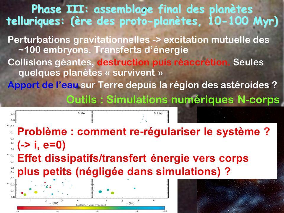 Phase III: assemblage final des planètes telluriques: (ère des proto-planètes, 10-100 Myr) Perturbations gravitationnelles -> excitation mutuelle des