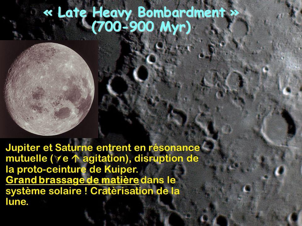« Late Heavy Bombardment » (700-900 Myr) Jupiter et Saturne entrent en résonance mutuelle ( e agitation), disruption de la proto-ceinture de Kuiper. G