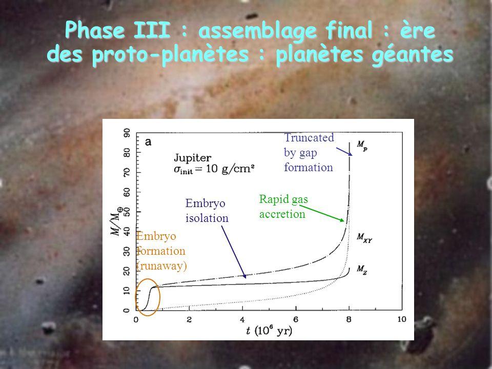 Phase III : assemblage final : ère des proto-planètes : planètes géantes Embryo formation (runaway) Embryo isolation Rapid gas accretion Truncated by