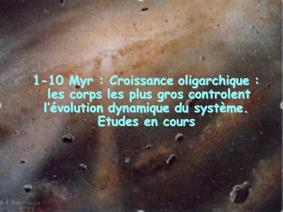 1-10 Myr : Croissance oligarchique : les corps les plus gros controlent lévolution dynamique du système. Etudes en cours