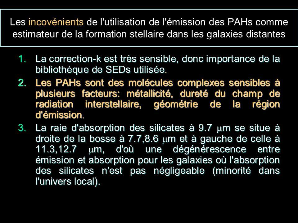 Les incovénients de l utilisation de l émission des PAHs comme estimateur de la formation stellaire dans les galaxies distantes 1.La correction-k est très sensible, donc importance de la bibliothèque de SEDs utilisée.