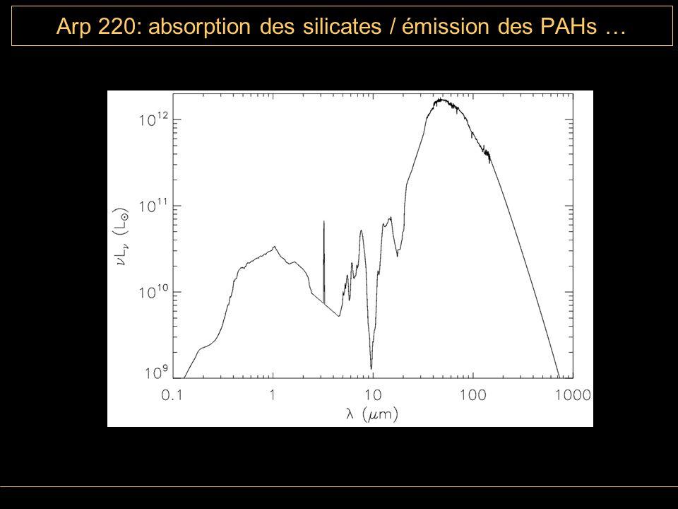 Arp 220: absorption des silicates / émission des PAHs …