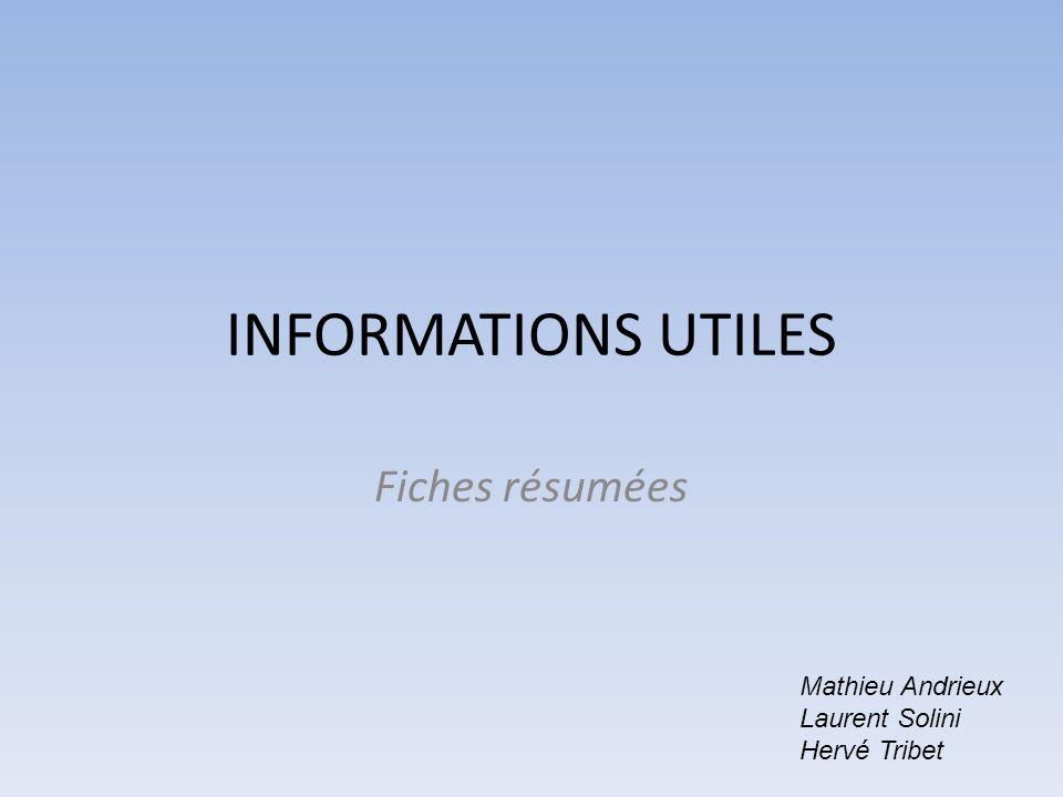 INFORMATIONS UTILES Fiches résumées Mathieu Andrieux Laurent Solini Hervé Tribet