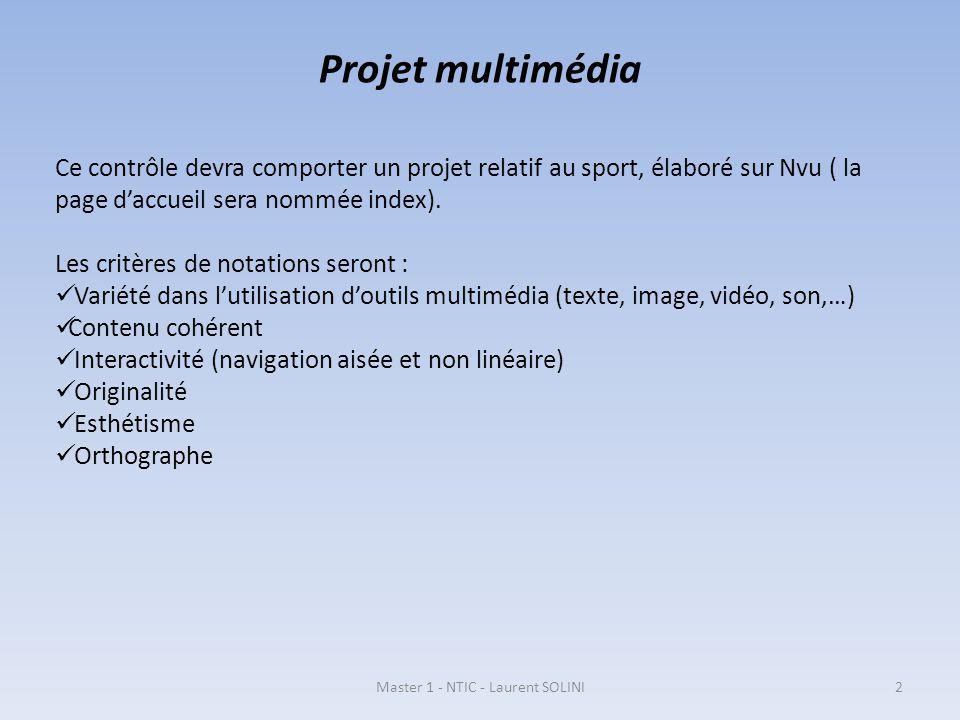 Projet multimédia Ce contrôle devra comporter un projet relatif au sport, élaboré sur Nvu ( la page daccueil sera nommée index). Les critères de notat