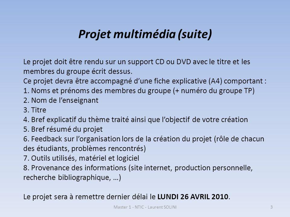 Projet multimédia (suite) Le projet doit être rendu sur un support CD ou DVD avec le titre et les membres du groupe écrit dessus. Ce projet devra être