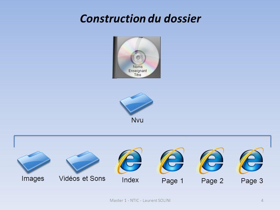 Construction du dossier Nvu ImagesVidéos et Sons Index Page 1Page 2Page 3 Noms Enseignant Titre Master 1 - NTIC - Laurent SOLINI4