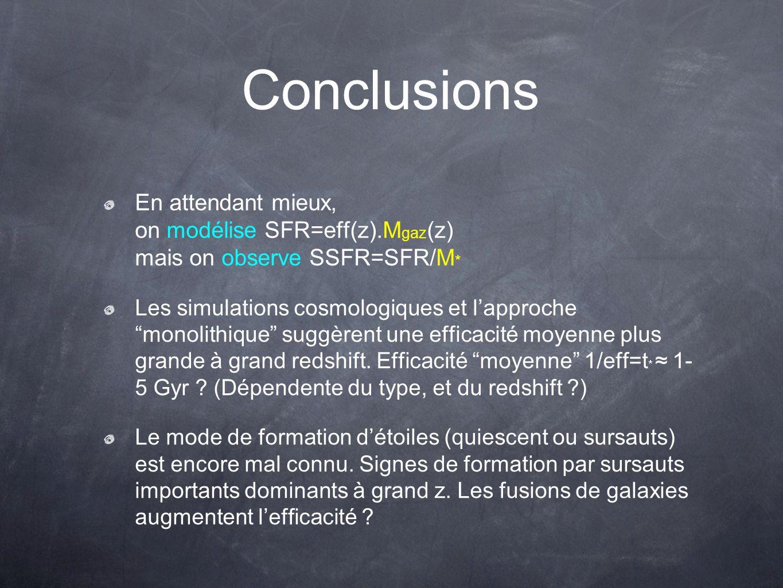 Conclusions En attendant mieux, on modélise SFR=eff(z).M gaz (z) mais on observe SSFR=SFR/M * Les simulations cosmologiques et lapproche monolithique