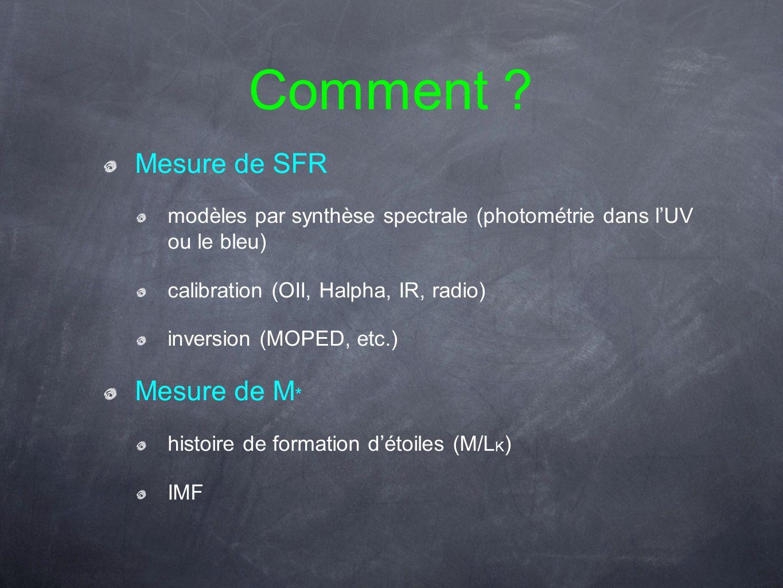 Comment ? Mesure de SFR modèles par synthèse spectrale (photométrie dans lUV ou le bleu) calibration (OII, Halpha, IR, radio) inversion (MOPED, etc.)