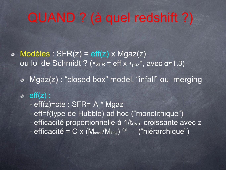 Modèles : SFR(z) = eff(z) x Mgaz(z) ou loi de Schmidt ? ( s SFR = eff x s gaz α, avec α1.3) Mgaz(z) : closed box model, infall ou merging eff(z) : - e