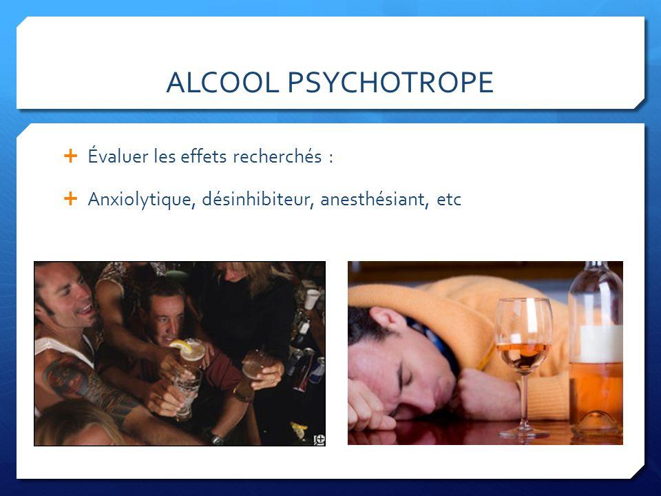 ALCOOL PSYCHOTROPE Évaluer les effets recherchés : Anxiolytique, désinhibiteur, anesthésiant, etc