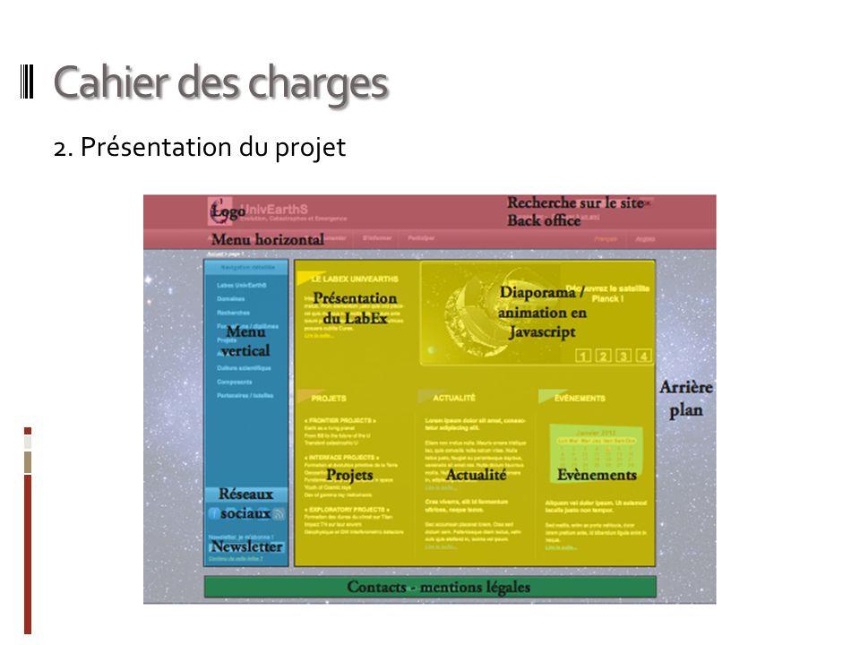 Cahier des charges 2. Présentation du projet