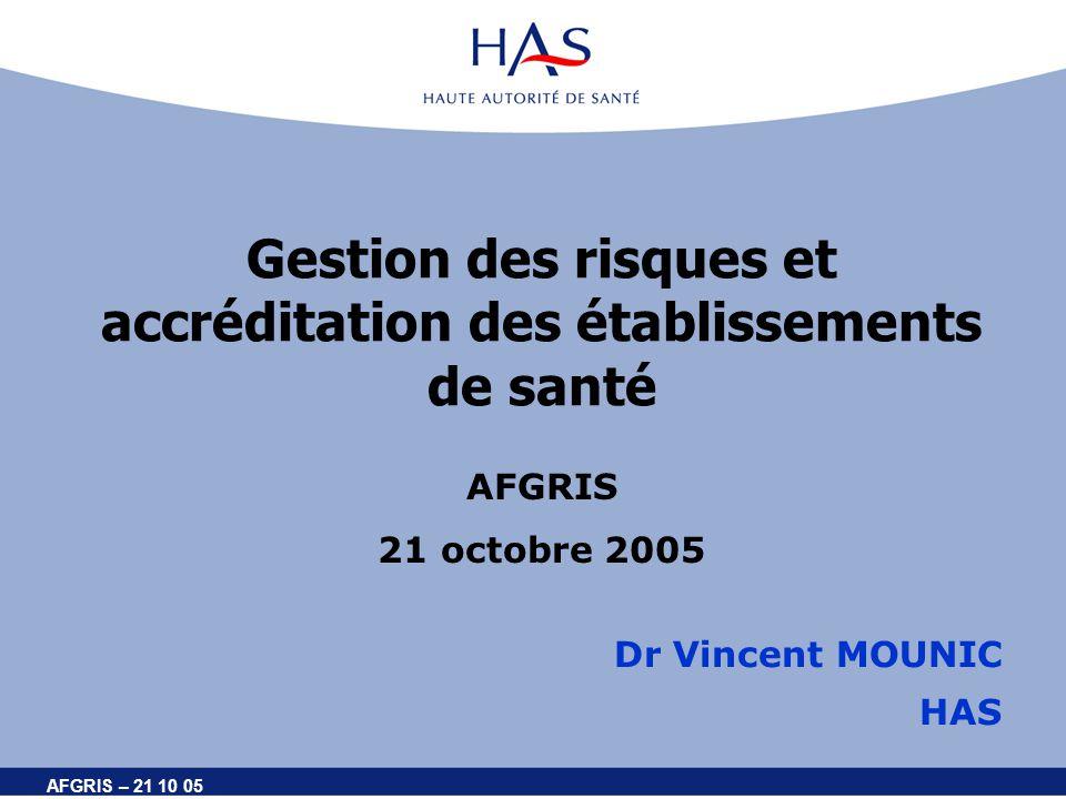AFGRIS – 21 10 05 Gestion des risques et accréditation des établissements de santé AFGRIS 21 octobre 2005 Dr Vincent MOUNIC HAS