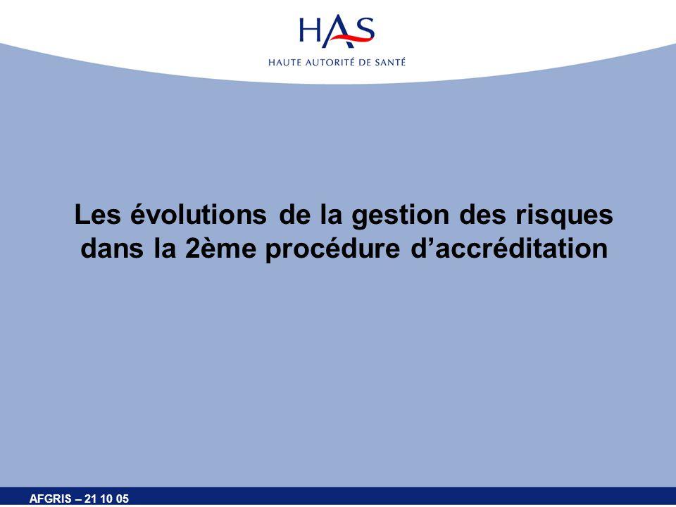 AFGRIS – 21 10 05 Les évolutions de la gestion des risques dans la 2ème procédure daccréditation