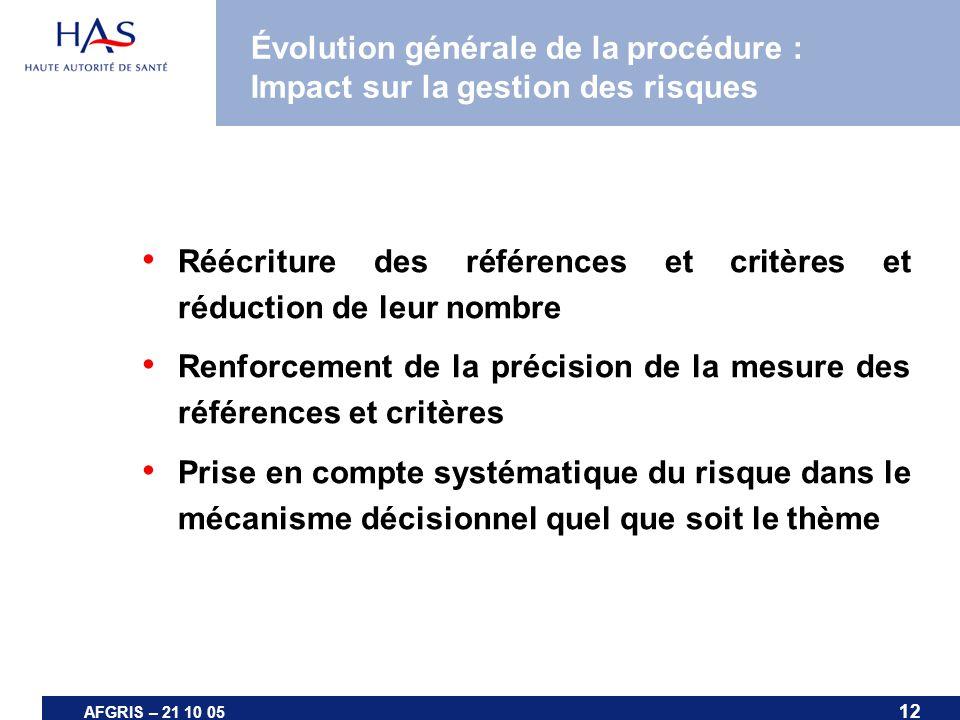 12 AFGRIS – 21 10 05 Évolution générale de la procédure : Impact sur la gestion des risques Réécriture des références et critères et réduction de leur