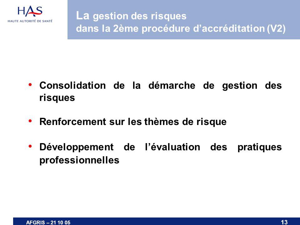 13 AFGRIS – 21 10 05 La gestion des risques dans la 2ème procédure daccréditation (V2) Consolidation de la démarche de gestion des risques Renforcemen
