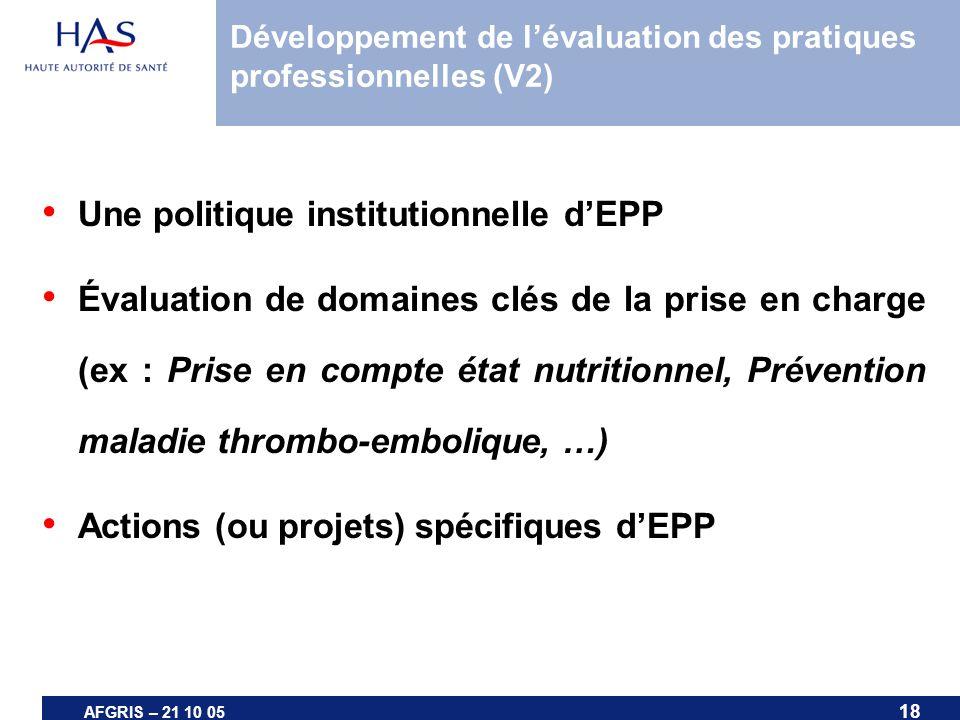18 AFGRIS – 21 10 05 Développement de lévaluation des pratiques professionnelles (V2) Une politique institutionnelle dEPP Évaluation de domaines clés