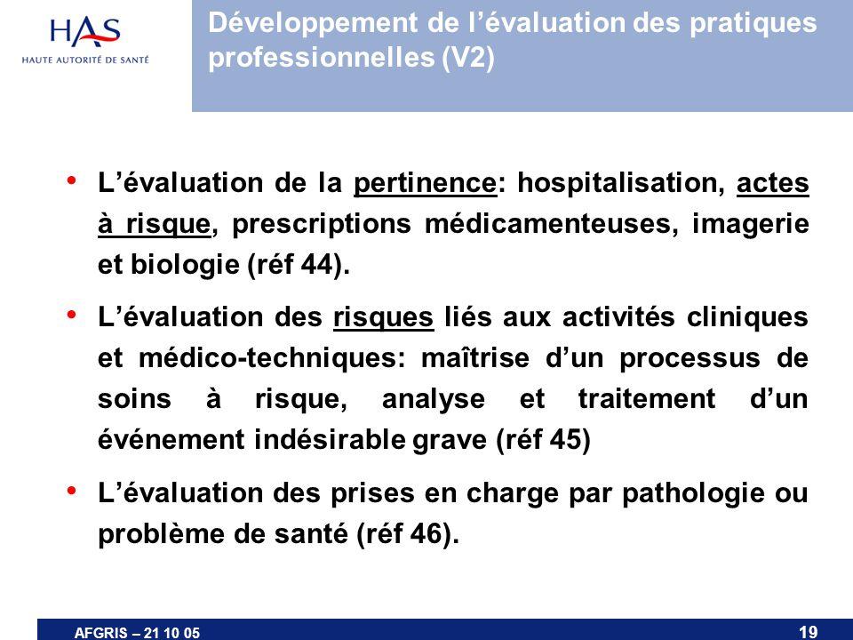19 AFGRIS – 21 10 05 Lévaluation de la pertinence: hospitalisation, actes à risque, prescriptions médicamenteuses, imagerie et biologie (réf 44). Léva
