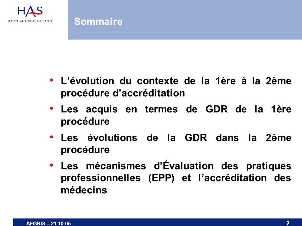 AFGRIS – 21 10 05 Lévolution du contexte de la 1ère à la 2ème procédure daccréditation