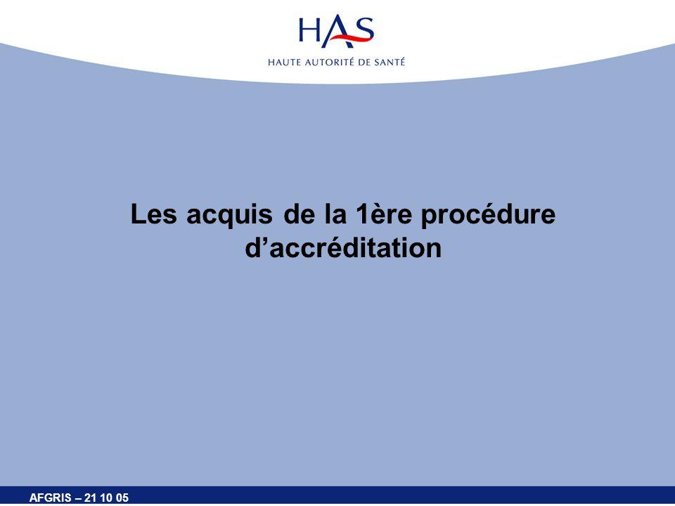 AFGRIS – 21 10 05 Les acquis de la 1ère procédure daccréditation