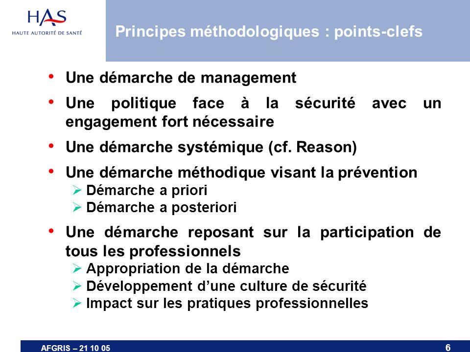6 AFGRIS – 21 10 05 Principes méthodologiques : points-clefs Une démarche de management Une politique face à la sécurité avec un engagement fort néces