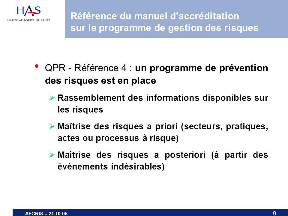 9 AFGRIS – 21 10 05 Référence du manuel daccréditation sur le programme de gestion des risques QPR - Référence 4 : un programme de prévention des risq