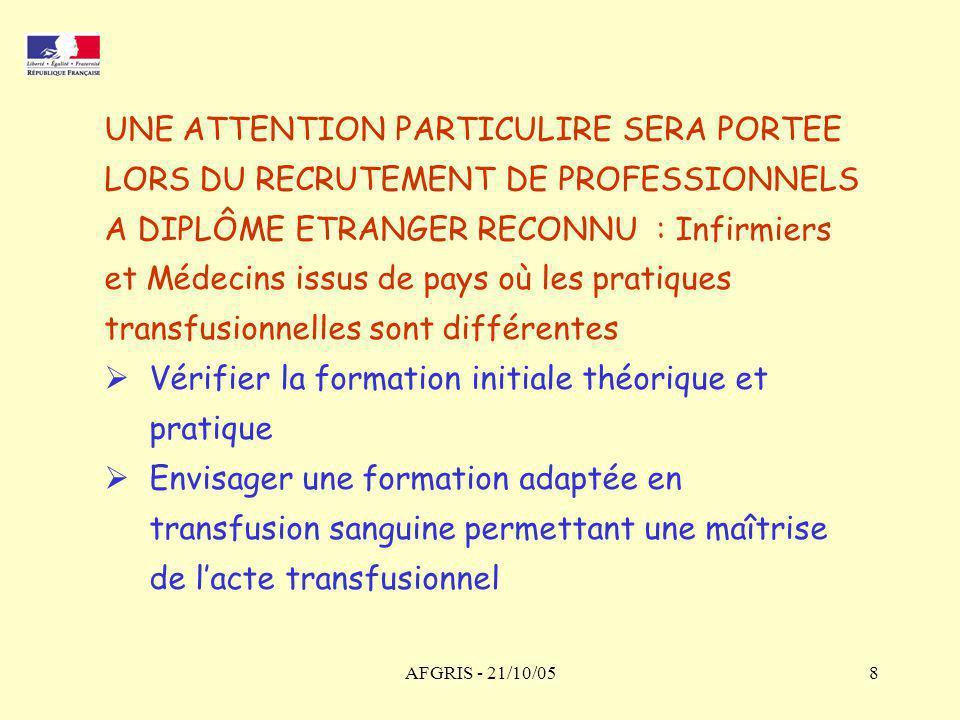 AFGRIS - 21/10/059 UNE INFORMATION MARQUEE AUPRES DES INSTANCES ET DU RESEAU D HEMOVIGILANCE DES ENSEIGNEMENTS TIRES DES EXPERTISES : Direction régionale - DRASSIF Services déconcentrés - DDASS Unité d hémovigilance - AFSSaPS Direction générale de la santé - DGS Direction de l hospitalisation - DHOS Etablissements de santé franciliens Etablissement français du sang IdeF Centre de transfusion sanguine des armées