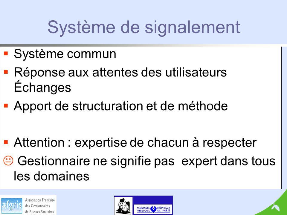 Système de signalement Système commun Réponse aux attentes des utilisateurs Échanges Apport de structuration et de méthode Attention : expertise de chacun à respecter Gestionnaire ne signifie pas expert dans tous les domaines