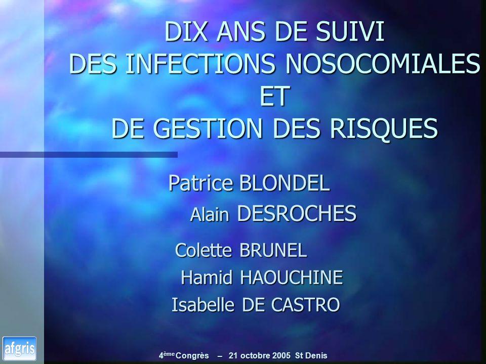 4 ème Congrès – 21 octobre 2005 St Denis DIX ANS DE SUIVI DES INFECTIONS NOSOCOMIALES ET DE GESTION DES RISQUES Alain DESROCHES Alain DESROCHES Colett