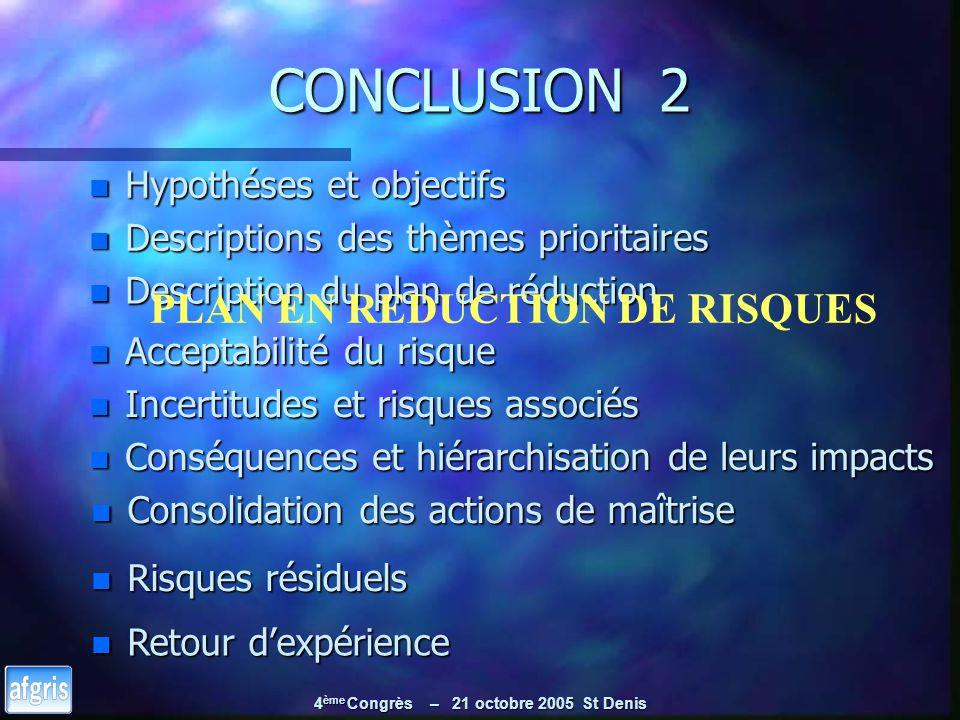 4 ème Congrès – 21 octobre 2005 St Denis CONCLUSION 2 n Hypothéses et objectifs n Descriptions des thèmes prioritaires n Description du plan de réduct