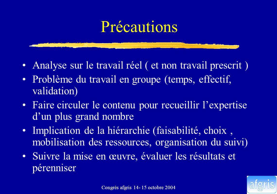 Congrès afgris 14- 15 octobre 2004 Précautions Analyse sur le travail réel ( et non travail prescrit ) Problème du travail en groupe (temps, effectif,