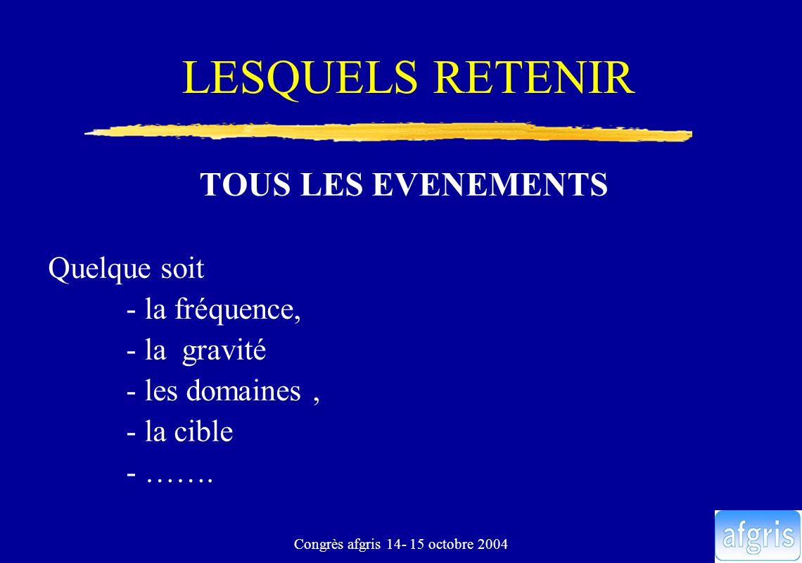 Congrès afgris 14- 15 octobre 2004 LESQUELS RETENIR TOUS LES EVENEMENTS Quelque soit - la fréquence, - la gravité - les domaines, - la cible - …….
