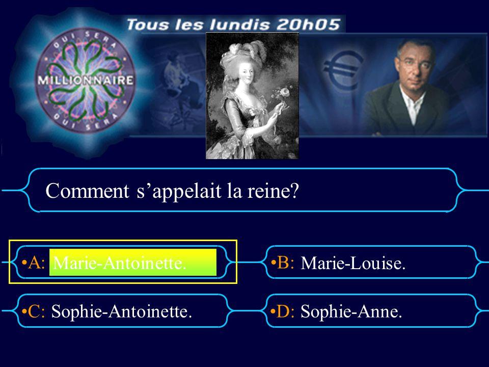 A:B: D:C: Comment sappelait la reine? Sophie-Antoinette.Sophie-Anne. Marie-Antoinette. Marie-Louise.