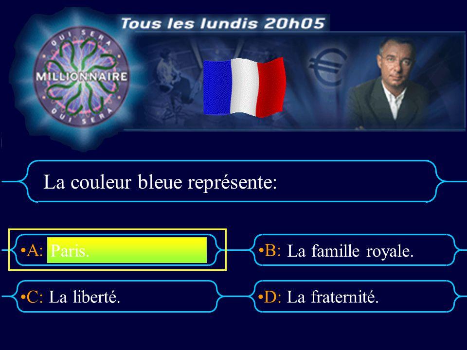 A:B: D:C: La couleur bleue représente: La liberté.La fraternité. Paris. La famille royale.