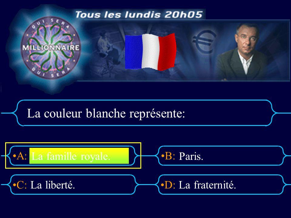 A:B: D:C: La couleur blanche représente: La liberté.La fraternité. La famille royale. Paris.