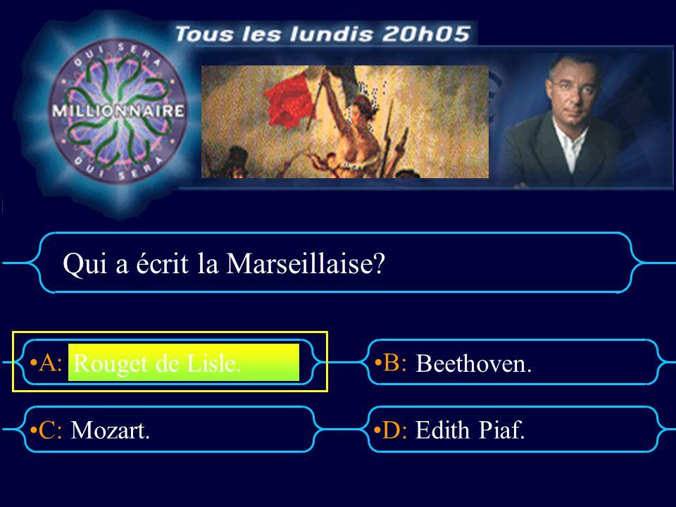 A:B: D:C: Qui a écrit la Marseillaise? Mozart.Edith Piaf. Rouget de Lisle. Beethoven.