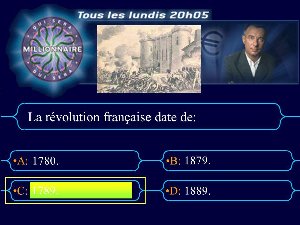A:B: D:C: Le 14 juillet est devenu jour de la fête nationale en: 1780 17901890 1880