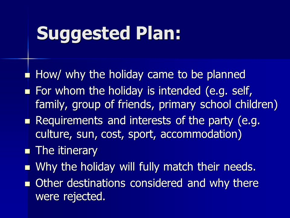 Suggested Plan: How/ why the holiday came to be planned How/ why the holiday came to be planned For whom the holiday is intended (e.g.