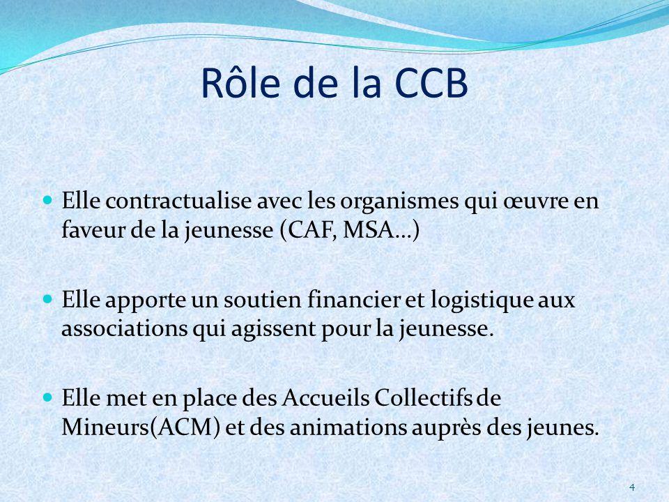 4 Elle contractualise avec les organismes qui œuvre en faveur de la jeunesse (CAF, MSA…) Elle apporte un soutien financier et logistique aux associati