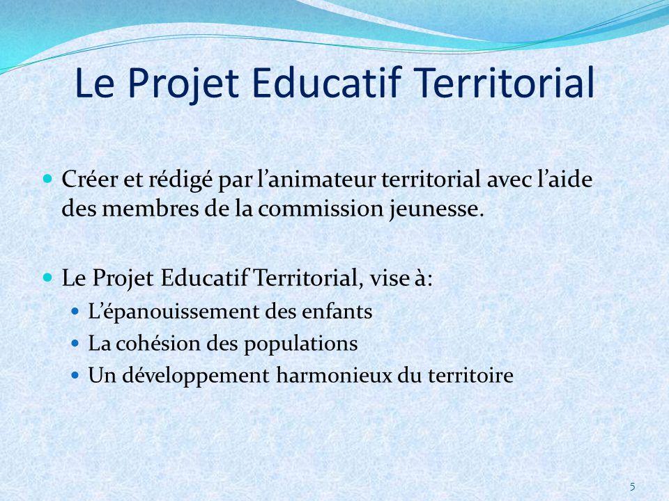5 Créer et rédigé par lanimateur territorial avec laide des membres de la commission jeunesse. Le Projet Educatif Territorial, vise à: Lépanouissement