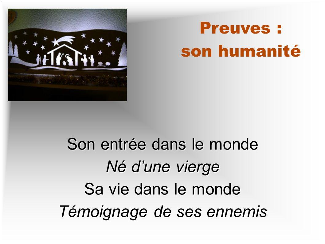 Preuves : son humanité Son entrée dans le monde Né dune vierge Sa vie dans le monde Témoignage de ses ennemis