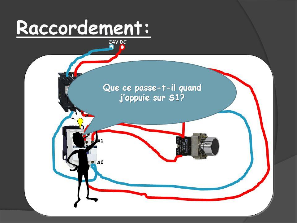 Raccordement: 24V DC 3 4 1 2 A1 A2 13 Que ce passe-t-il quand jappuie sur S1?