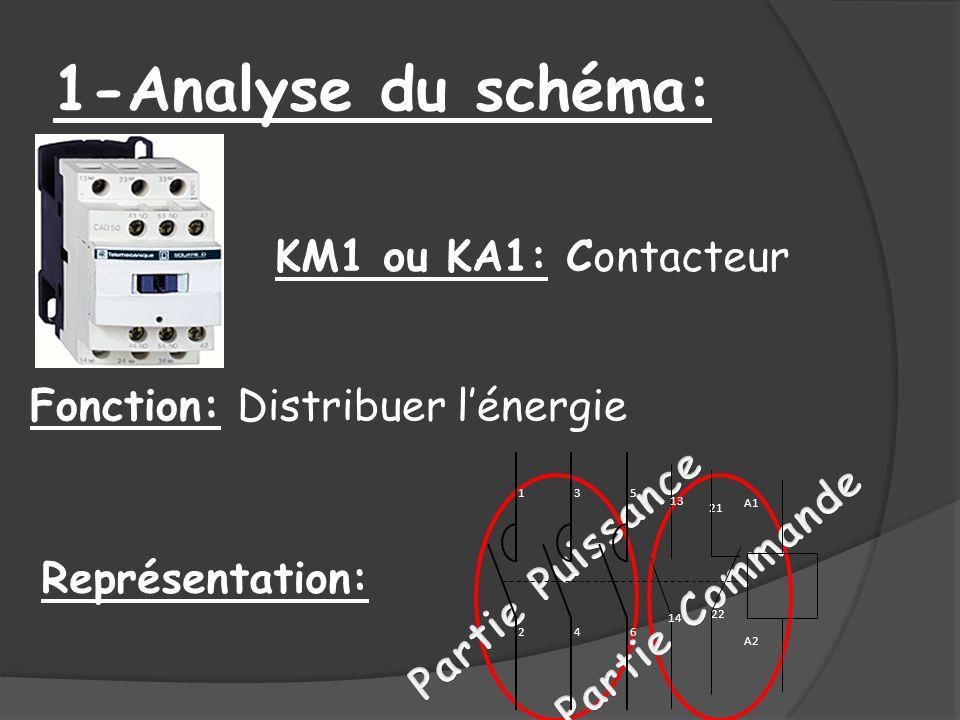 1-Analyse du schéma: KM1 ou KA1: Contacteur Fonction: Distribuer lénergie Représentation: 13 14 21 22 A1 A2 1 2 3 4 5 6