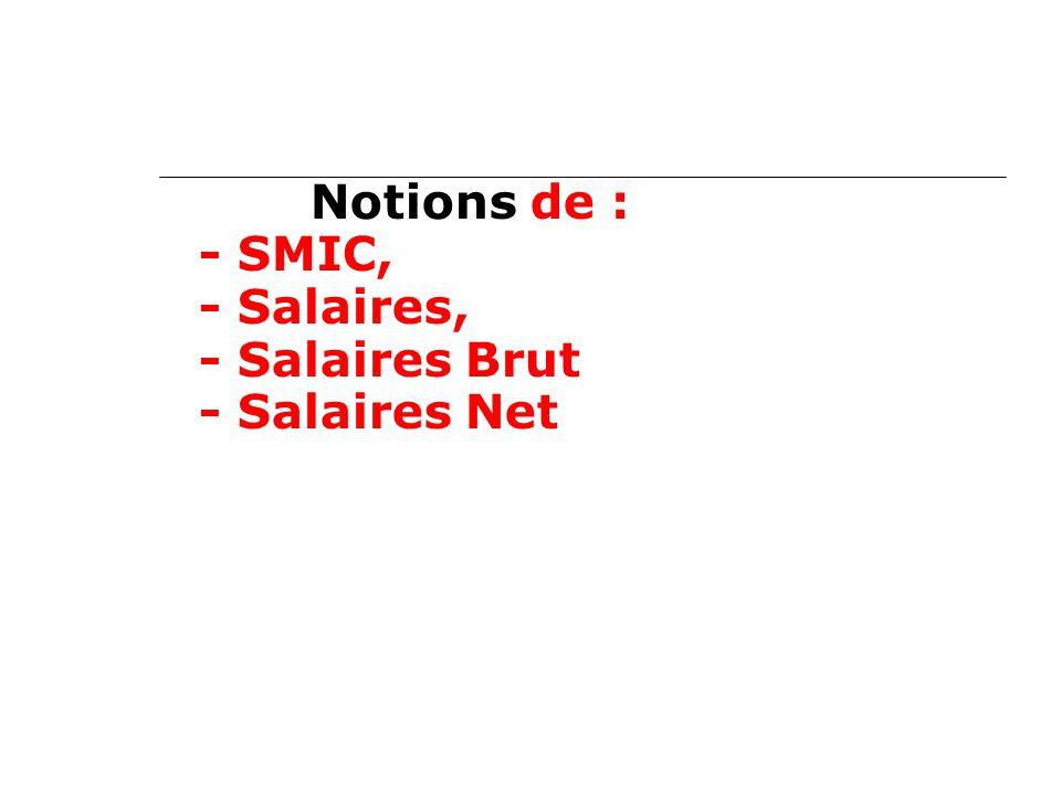Notions de : - SMIC, - Salaires, - Salaires Brut - Salaires Net