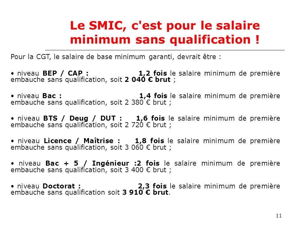 11 Le SMIC, c est pour le salaire minimum sans qualification .