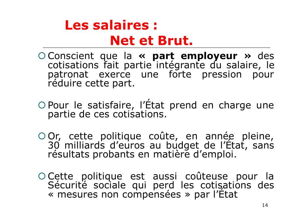 14 Conscient que la « part employeur » des cotisations fait partie intégrante du salaire, le patronat exerce une forte pression pour réduire cette part.