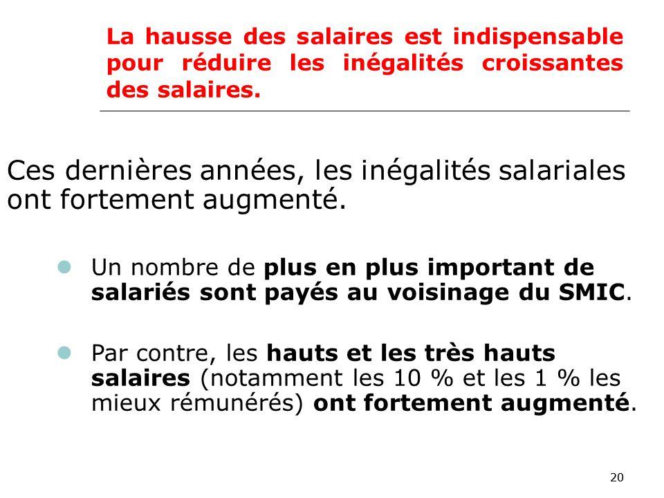 20 La hausse des salaires est indispensable pour réduire les inégalités croissantes des salaires.