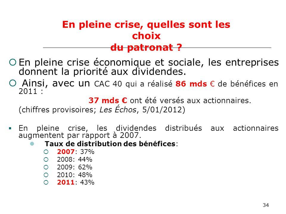 34 En pleine crise économique et sociale, les entreprises donnent la priorité aux dividendes.