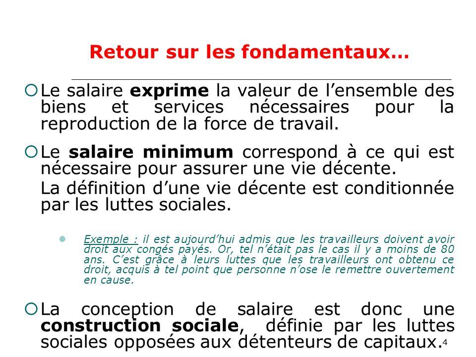 44 Le salaire exprime la valeur de lensemble des biens et services nécessaires pour la reproduction de la force de travail.