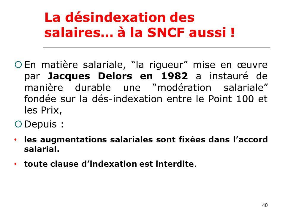 40 En matière salariale, la rigueur mise en œuvre par Jacques Delors en 1982 a instauré de manière durable une modération salariale fondée sur la dés-indexation entre le Point 100 et les Prix, Depuis : les augmentations salariales sont fixées dans laccord salarial.
